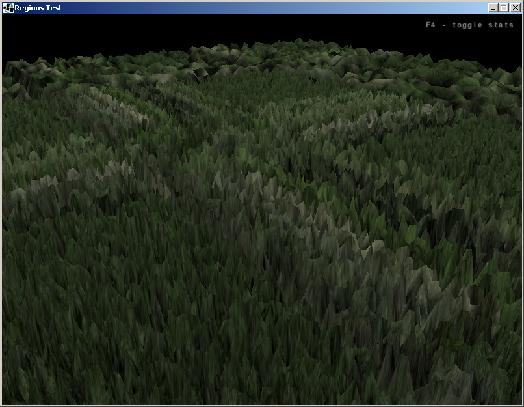screenshot of dynamically loaded terrain patches with detailed patches in the near and coarse patches in the distance